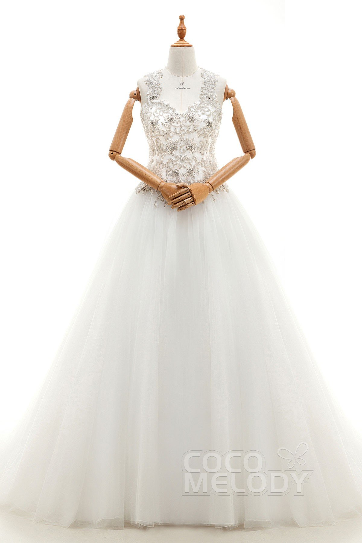 Fantastic A-Line Straps Natural Court Train Tulle Ivory Sleeveless Key Hole Wedding Dress with Appliques and Beading LD3940