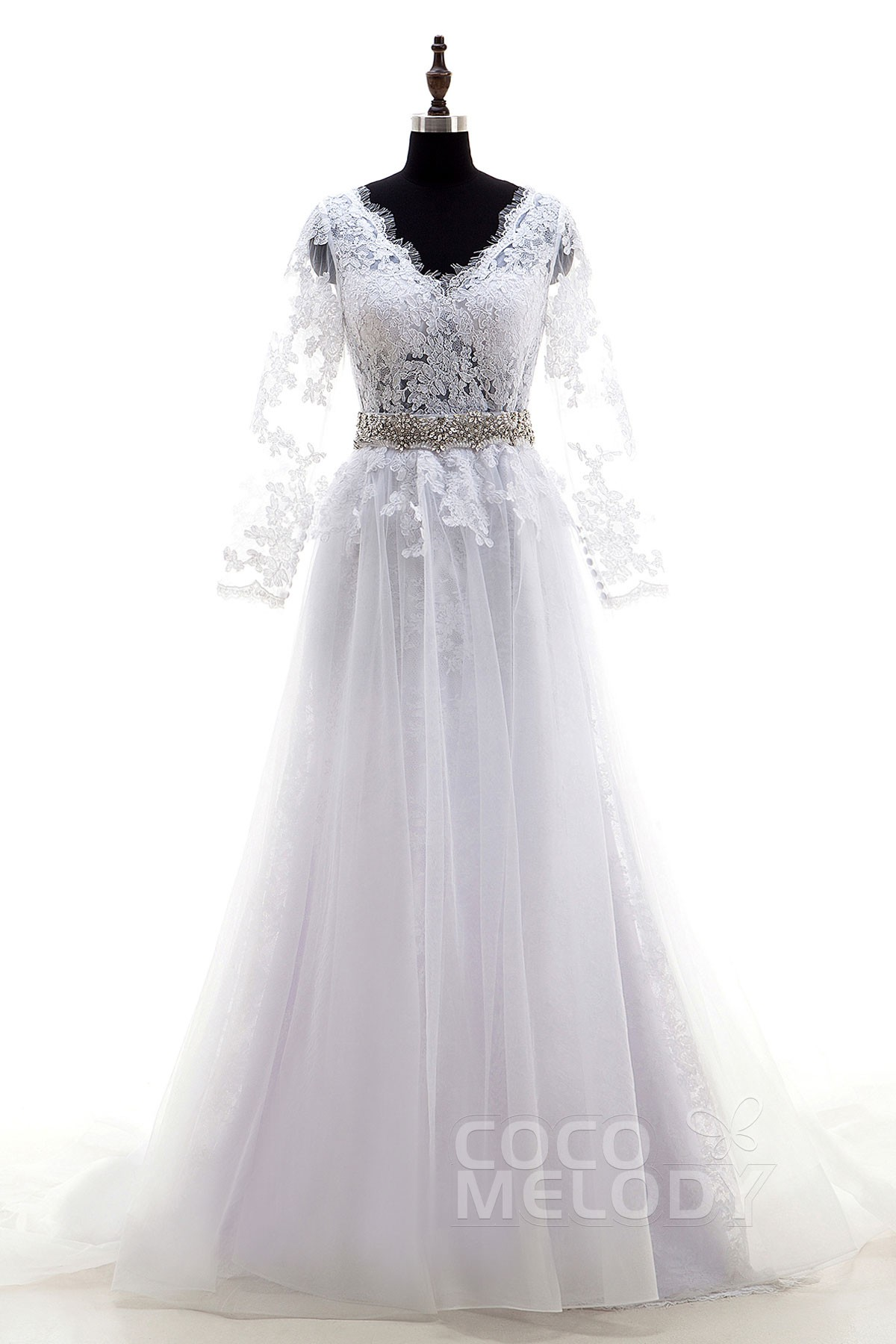 Simple V-Neck Natural Sweep-Brush Train Lace White Long Sleeve Zipper With Buttons Wedding Dress Sashes Removable Skirt LD4025