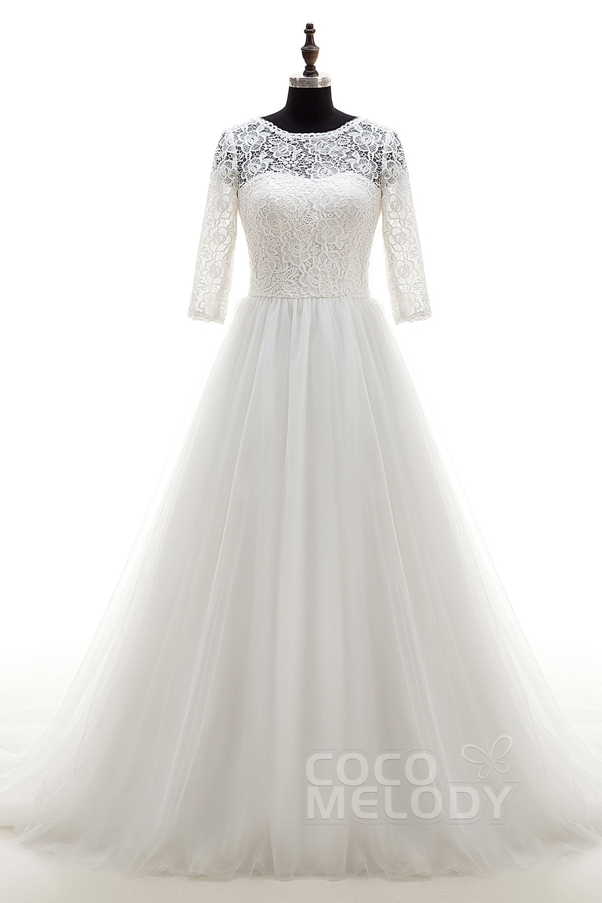 Cocomelody: A-Line Chapel Train Tulle Zipper With Buttons Wedding ...