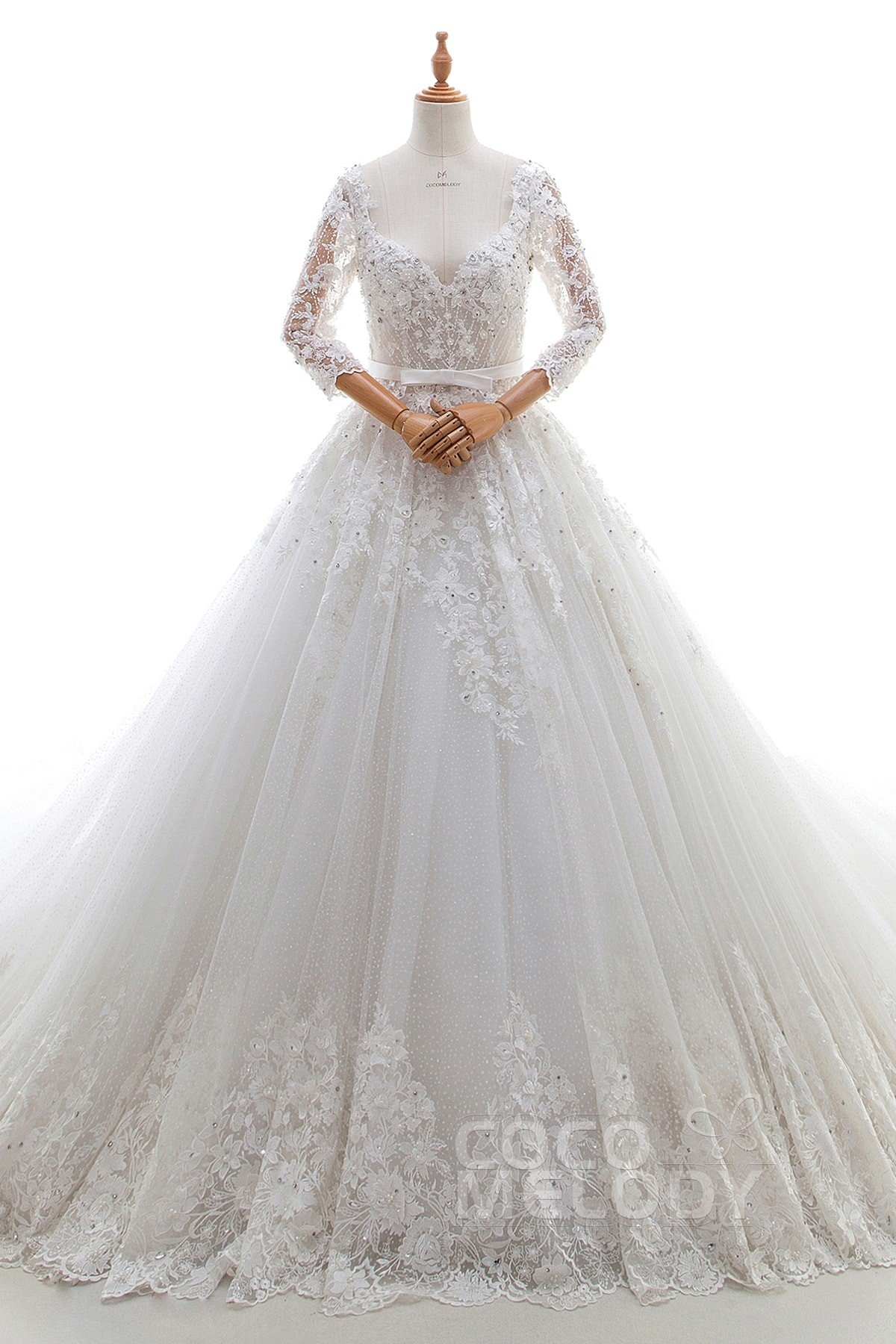 Fashion A Line V Neck Natural Cathedral Train Lace And Tulle Ivory 3 4 Length Sleeve Side Zipper Wedding Dress With Liques Beading Sashes Ld4387