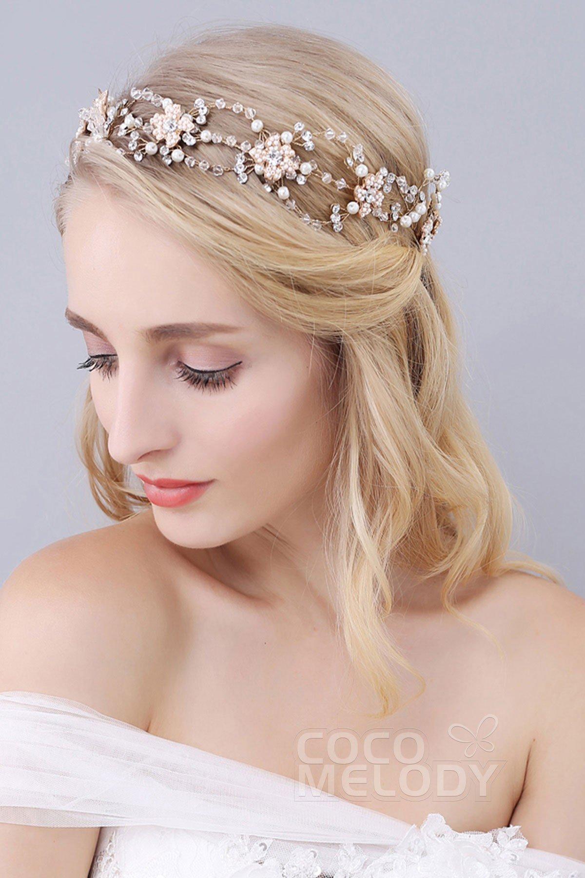Gorgeous Gold Alloy Wedding Headbands with Rhinestone Imitation Pearl and Crystal SAH160045