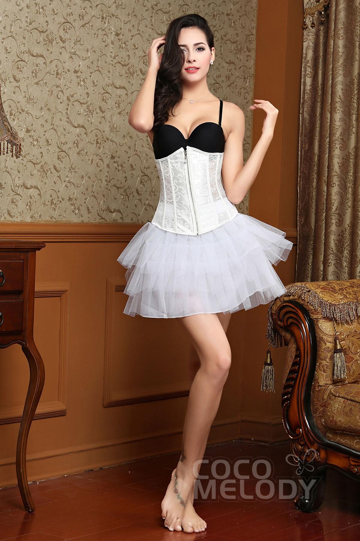 Hot_Sale White Lace Zipper Corset SSY005