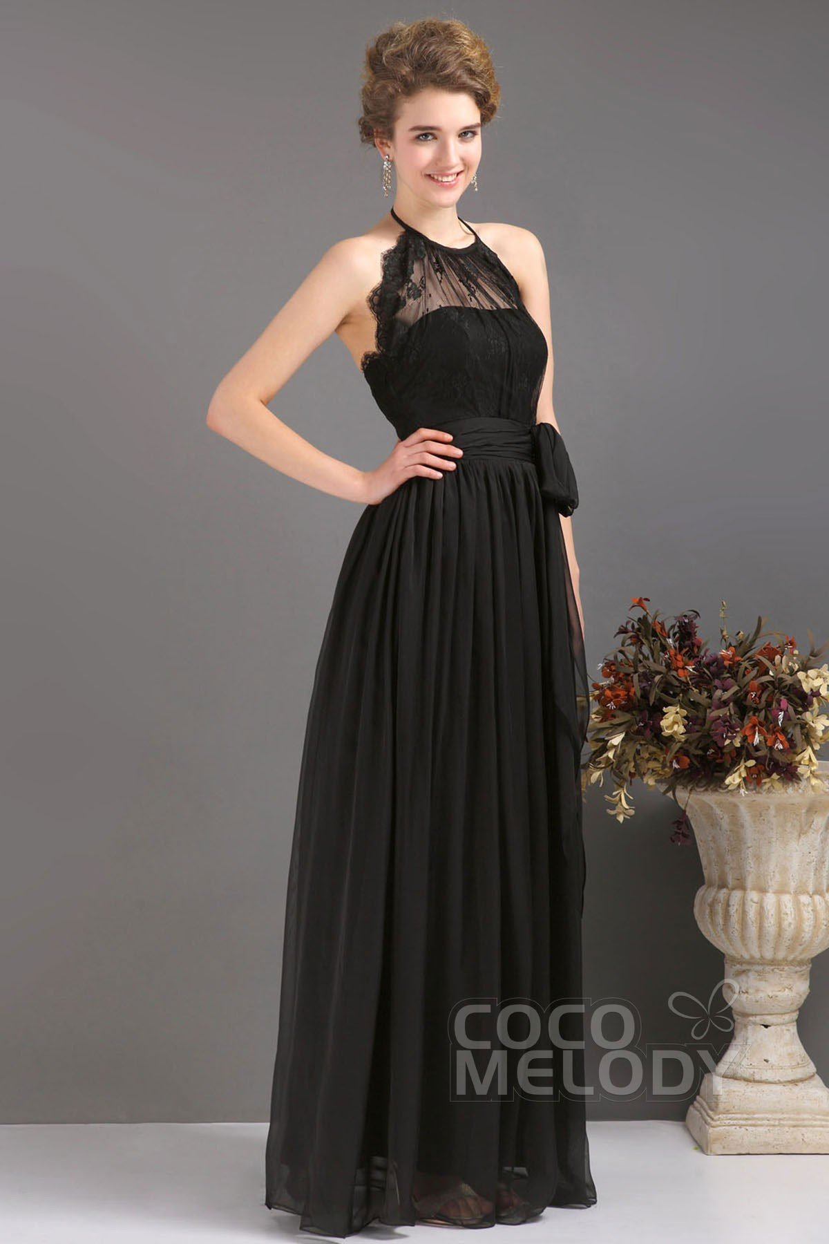 A Line Jewel Floor Length Chiffon Black Evening Dress F12084