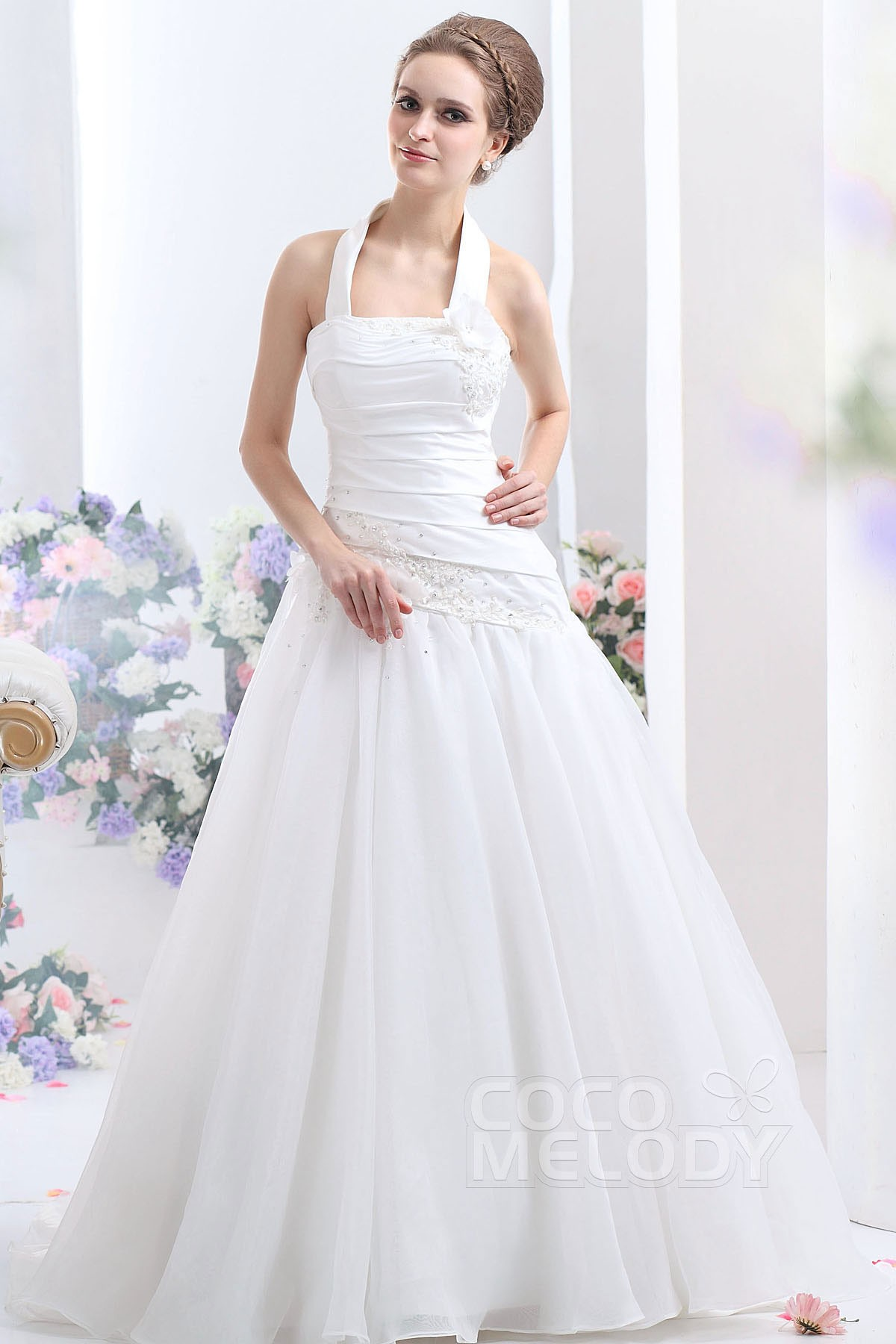 Cocomelody: A-Line Halter Dropped Court Train Organza Wedding Dress ...