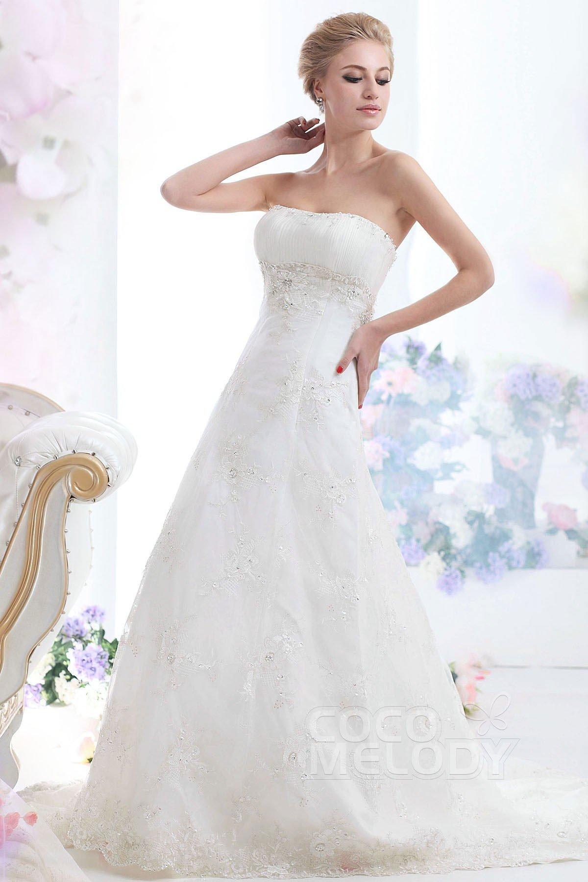 Cocomelody sheath column strapless chapel train lace for Chapel train wedding dresses