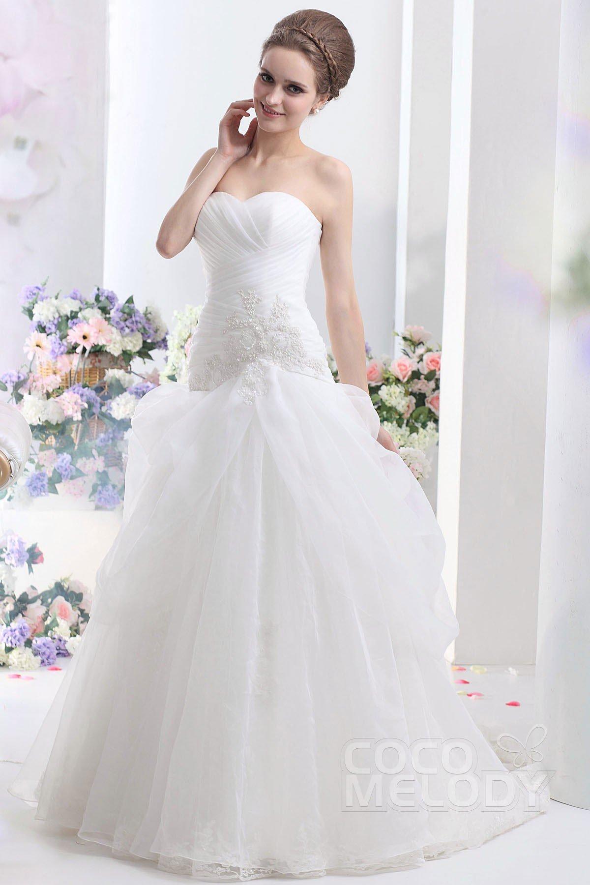 Pretty Sweetheart Dropped Waist Chapel Train Organza Wedding Dress CWLT13092
