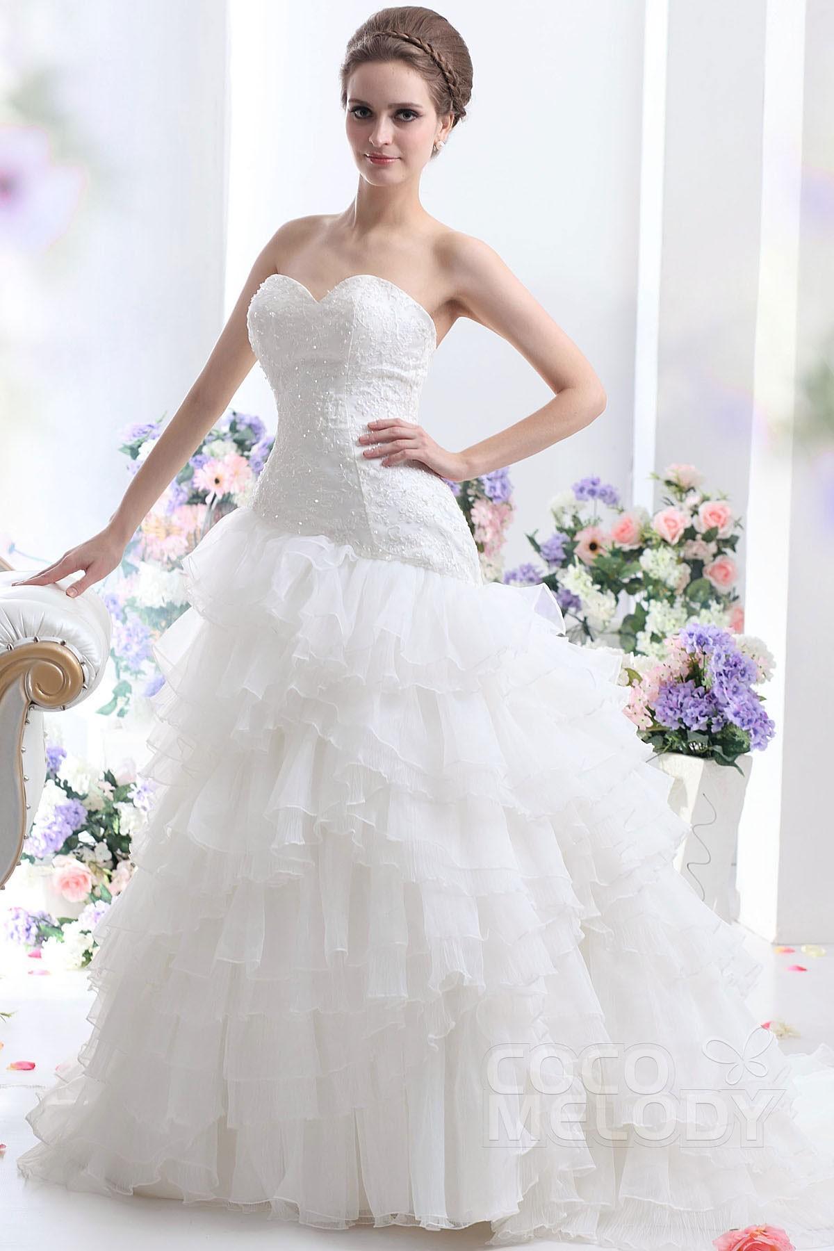 Delicate A-line Sweetheart Dropped Waist Court Train Organza Wedding Dress CWLT13005