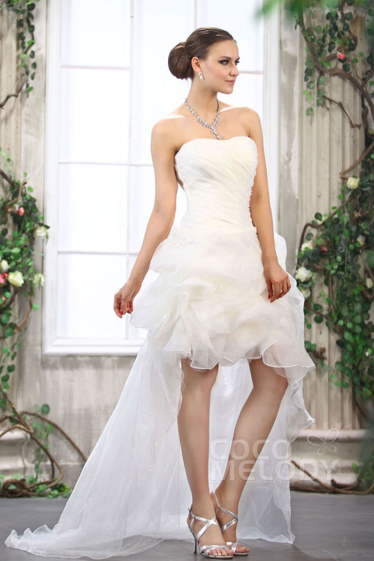 Cocomelody asymmetrical sweetheart high low organza for Wedding dresses high low