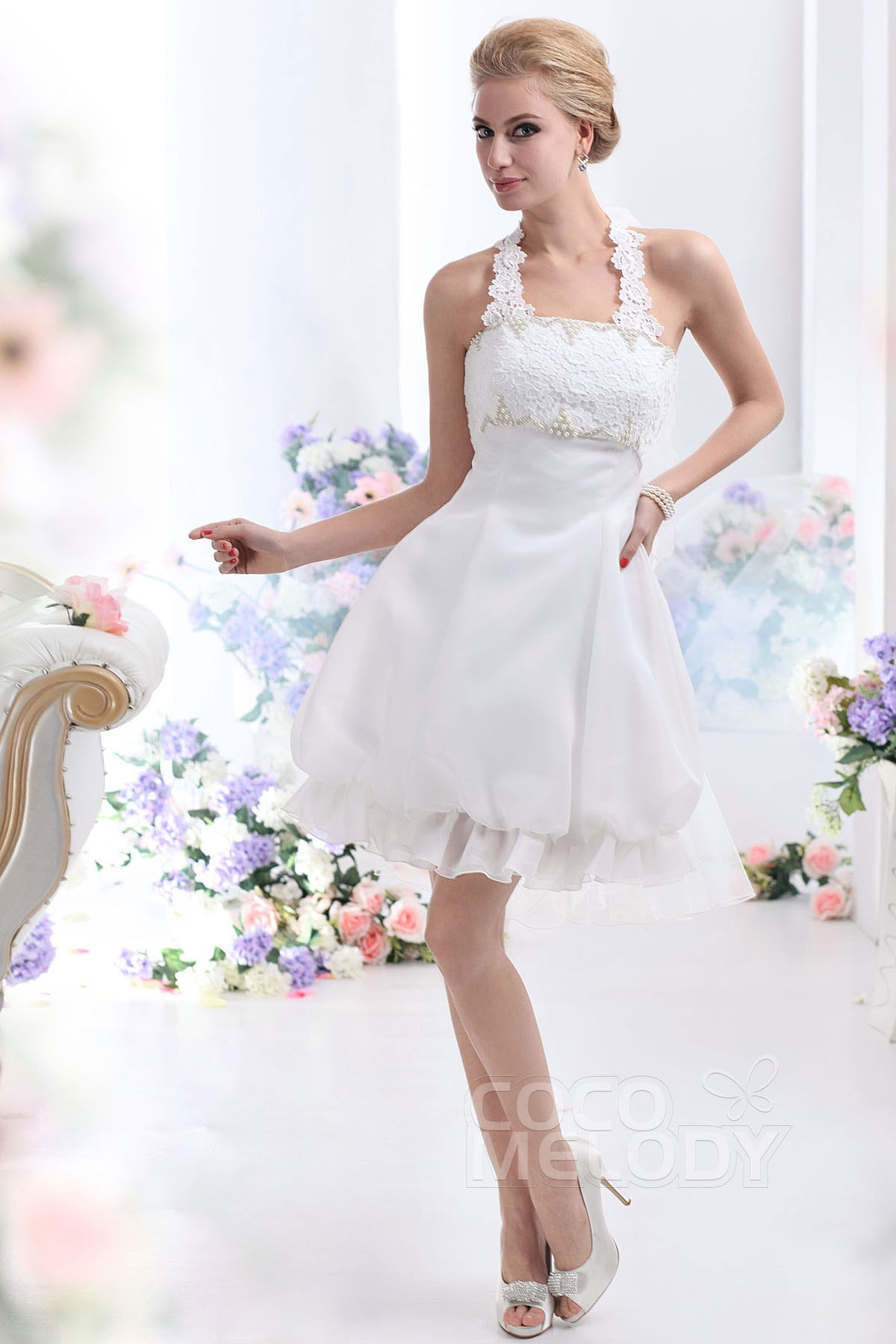 Cocomelody a line halter short mini organza sleeveless for Short mini wedding dresses