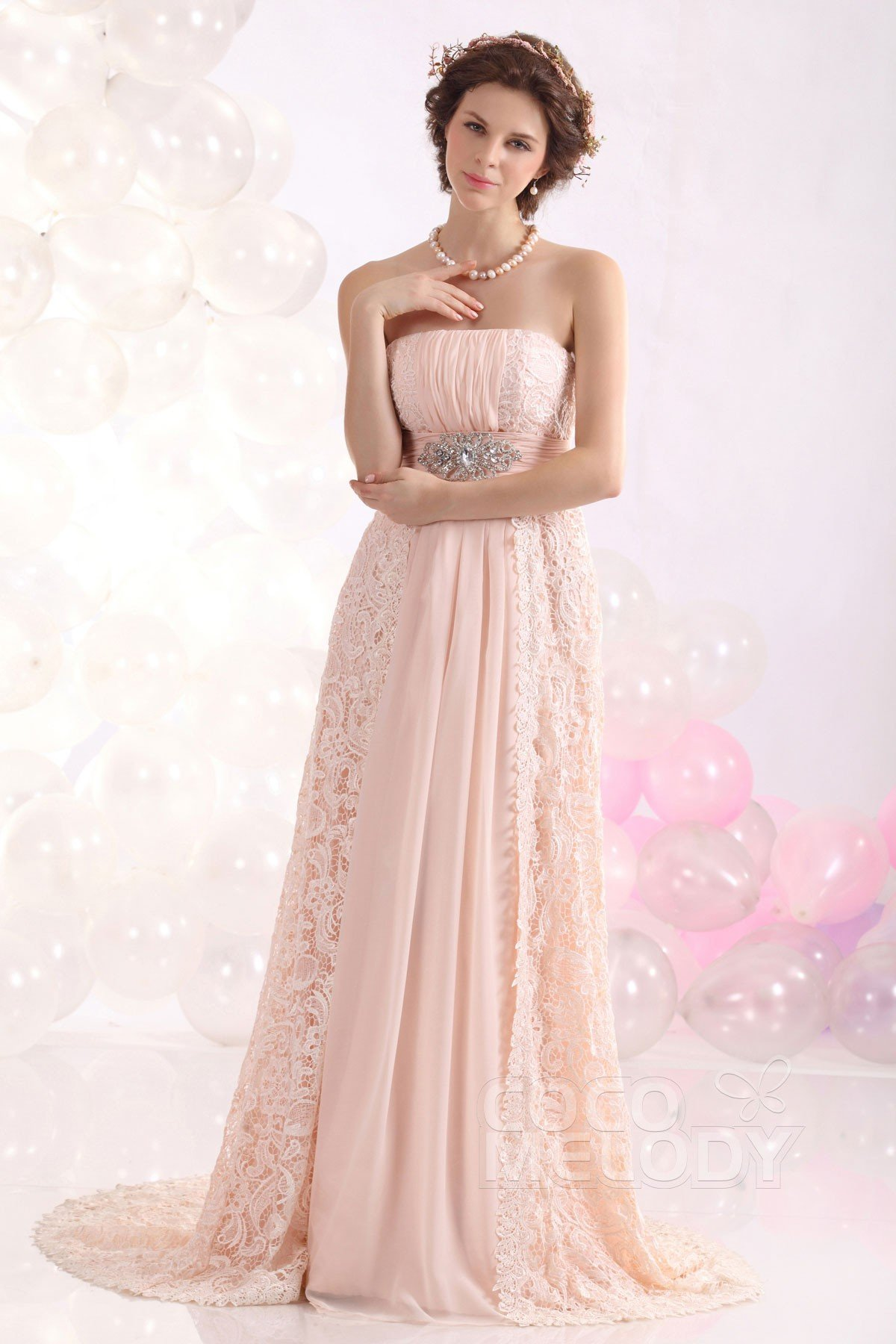 Cocomelody: Sheath-Column Strapless Sweep-Brush Train Lace Evening ...