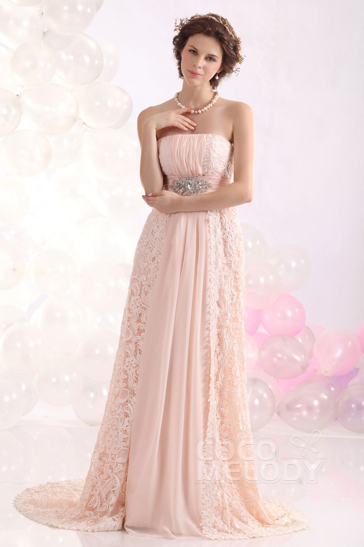 A Line Strapless Sweep Brush Train Lace Pink Evening Dress F12094
