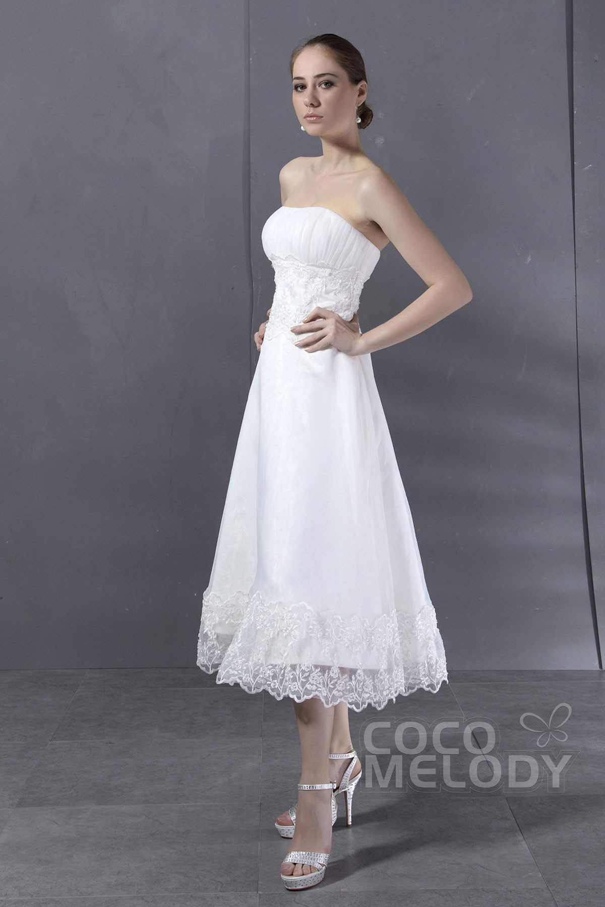 Charming a line strapless tea length organza wedding dress cwxi13001 ombrellifo Images