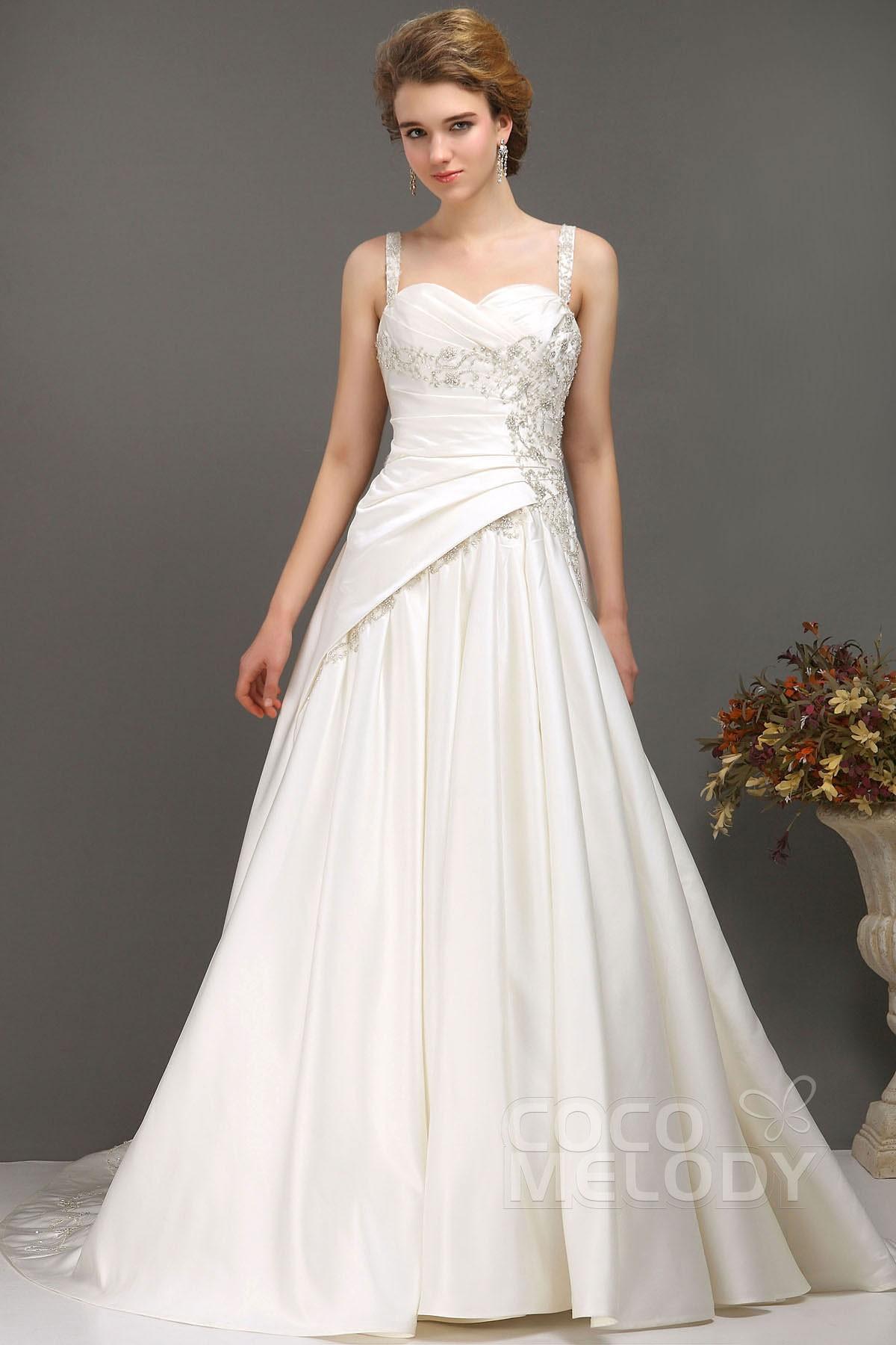 Hot Sale A-Line Straps Chapel Train Satin Lace Up-Corset Wedding Dress CWLT1300C