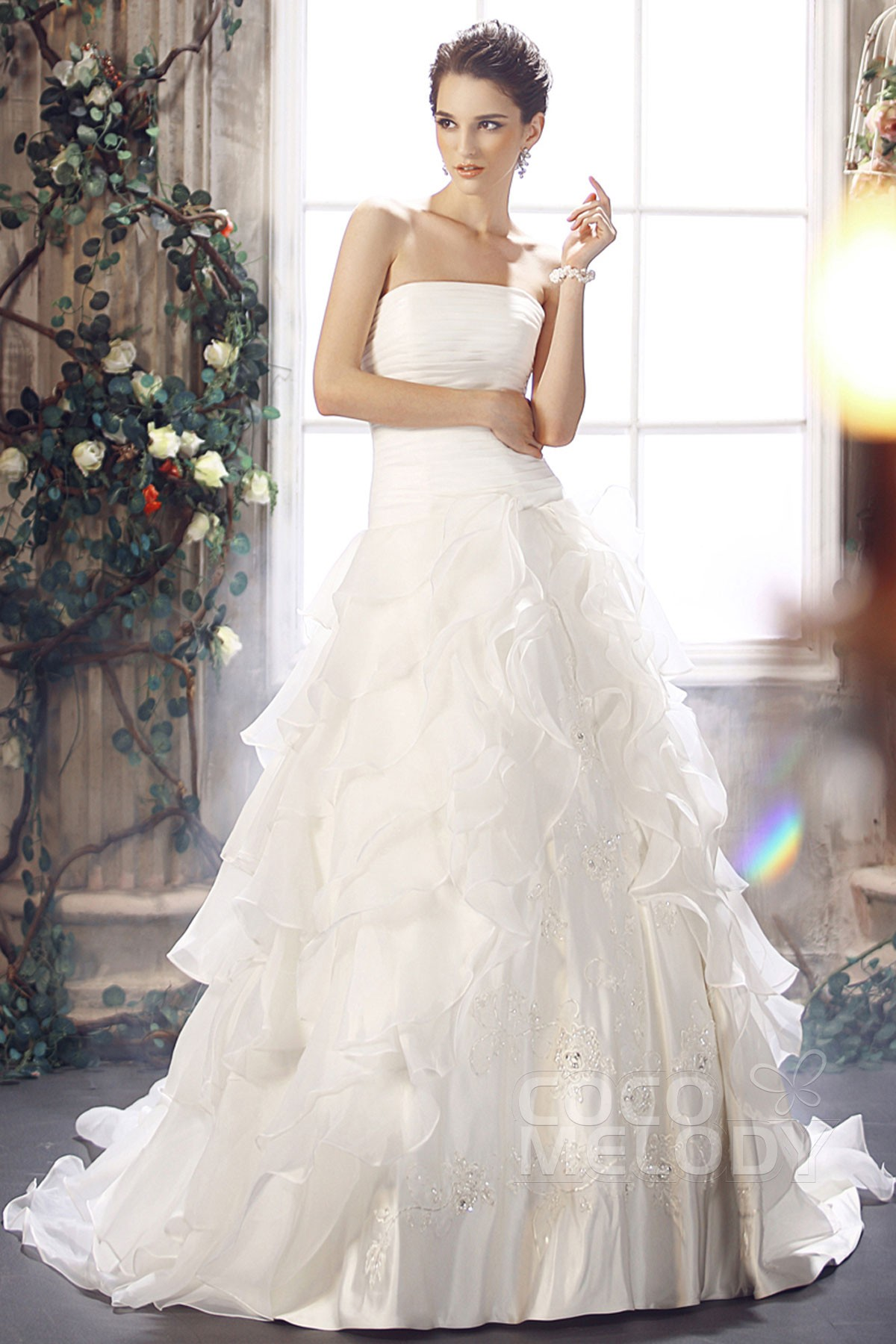 Elegant A-Line Strapless Court Train Organza Wedding Dress CWLT13028