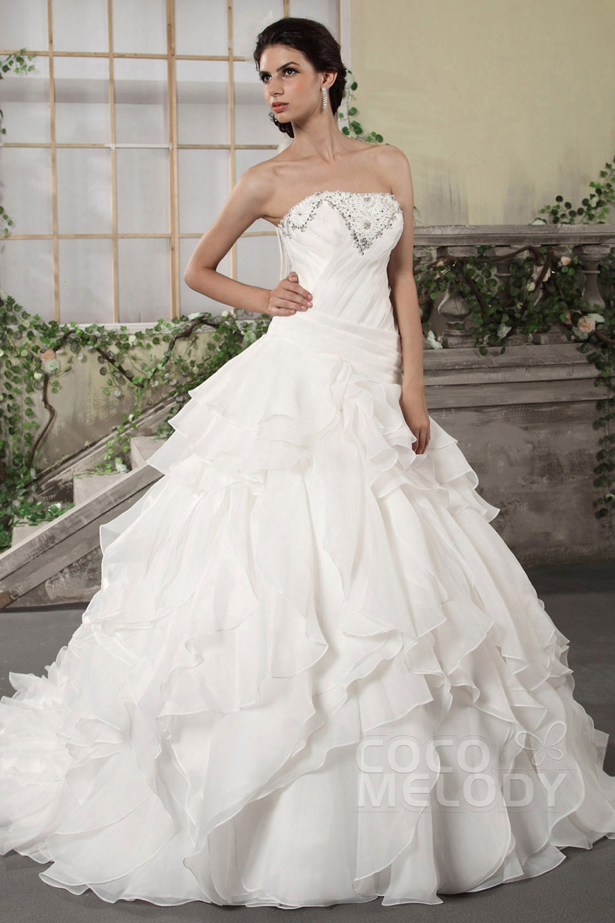 Cocomelody: Princess Strapless Chapel Train Organza ...