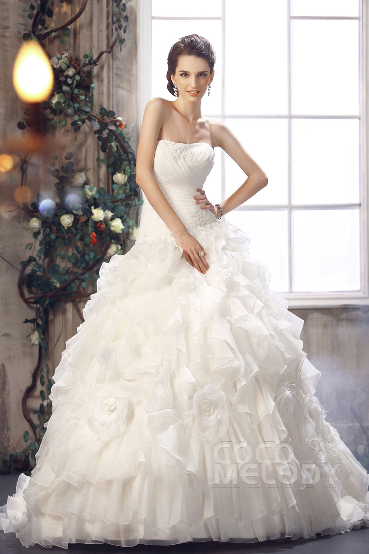 cocomelody princess sweetheart chapel train organza
