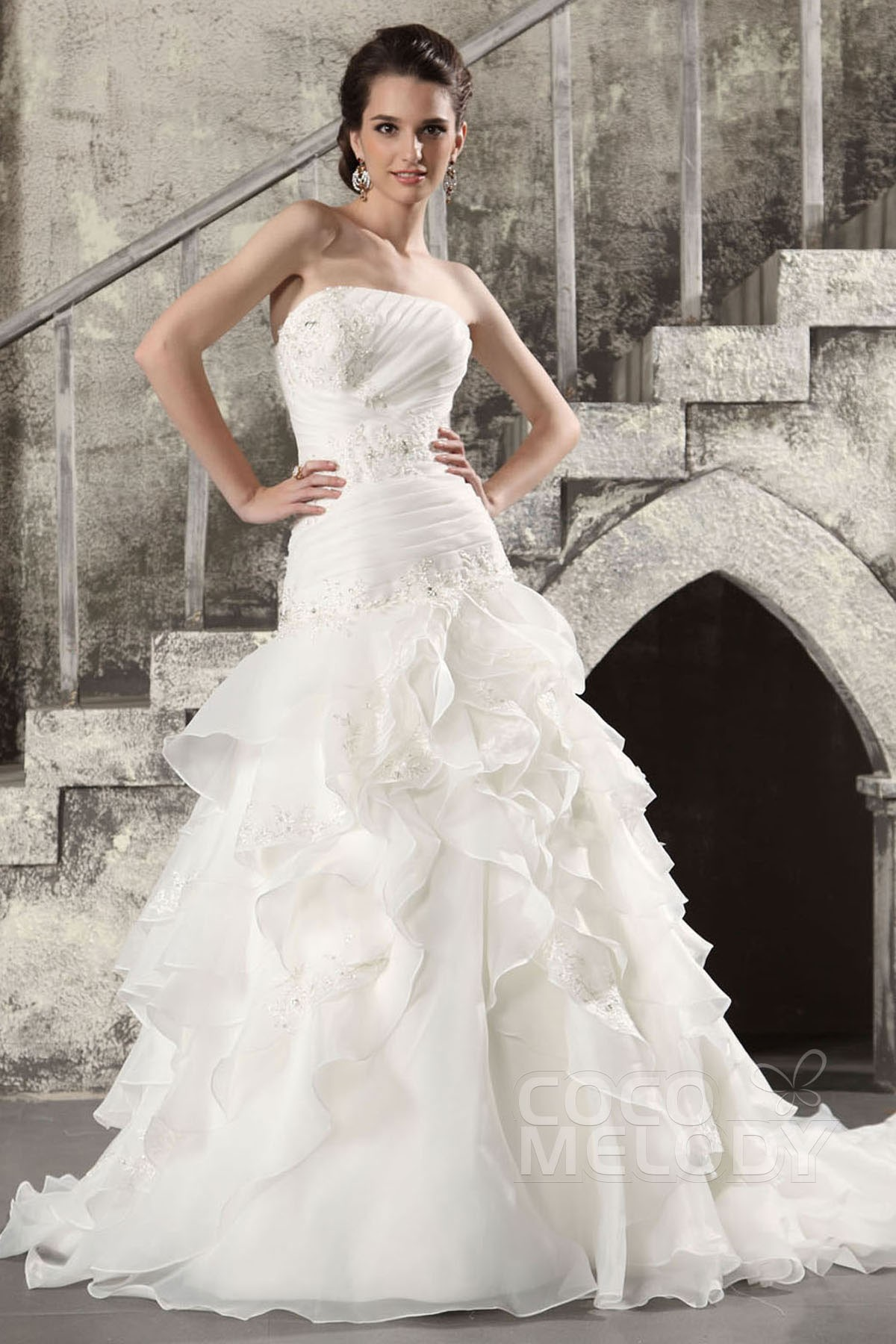 Sparkle Strapless Dropped Waist Chapel Train Organza Lace Up Corset Wedding Dress Cwlt13024