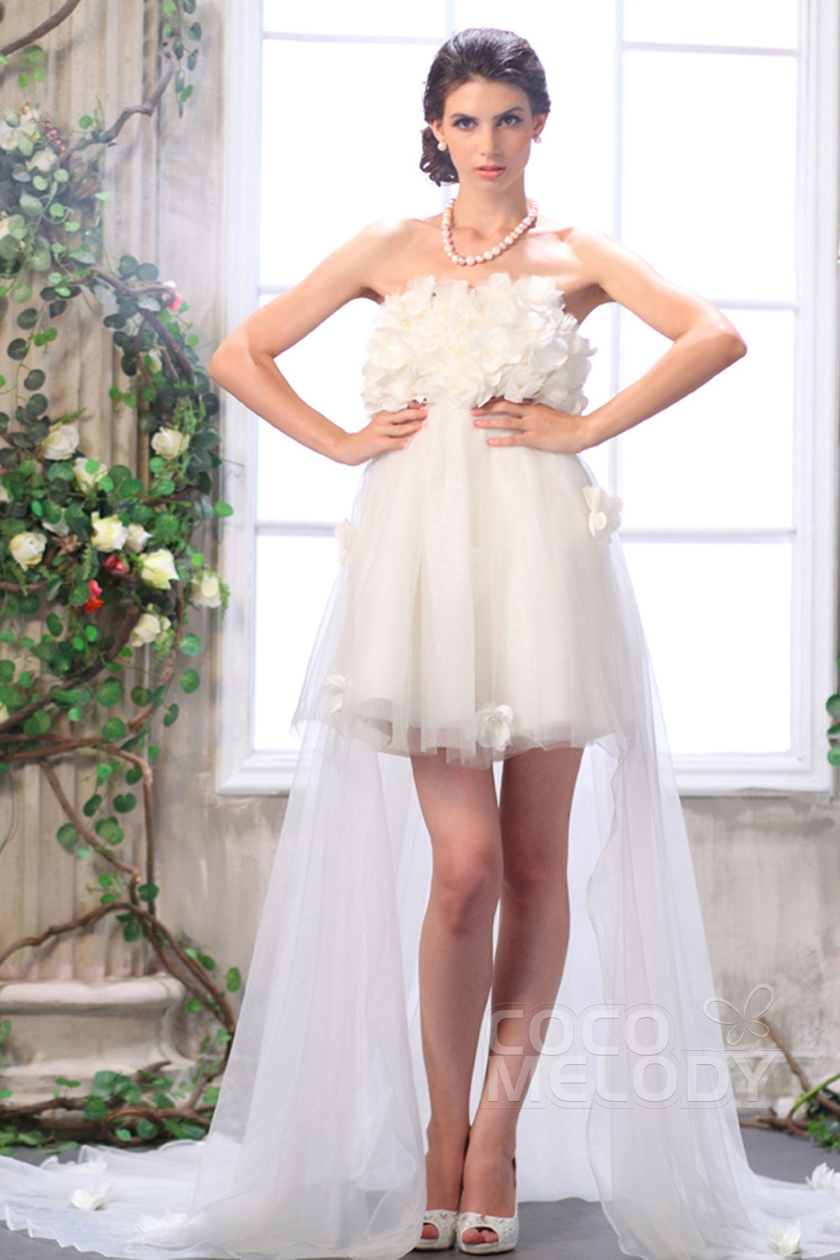 Cocomelody asymmetrical strapless empire high low tulle for Tulle high low wedding dress