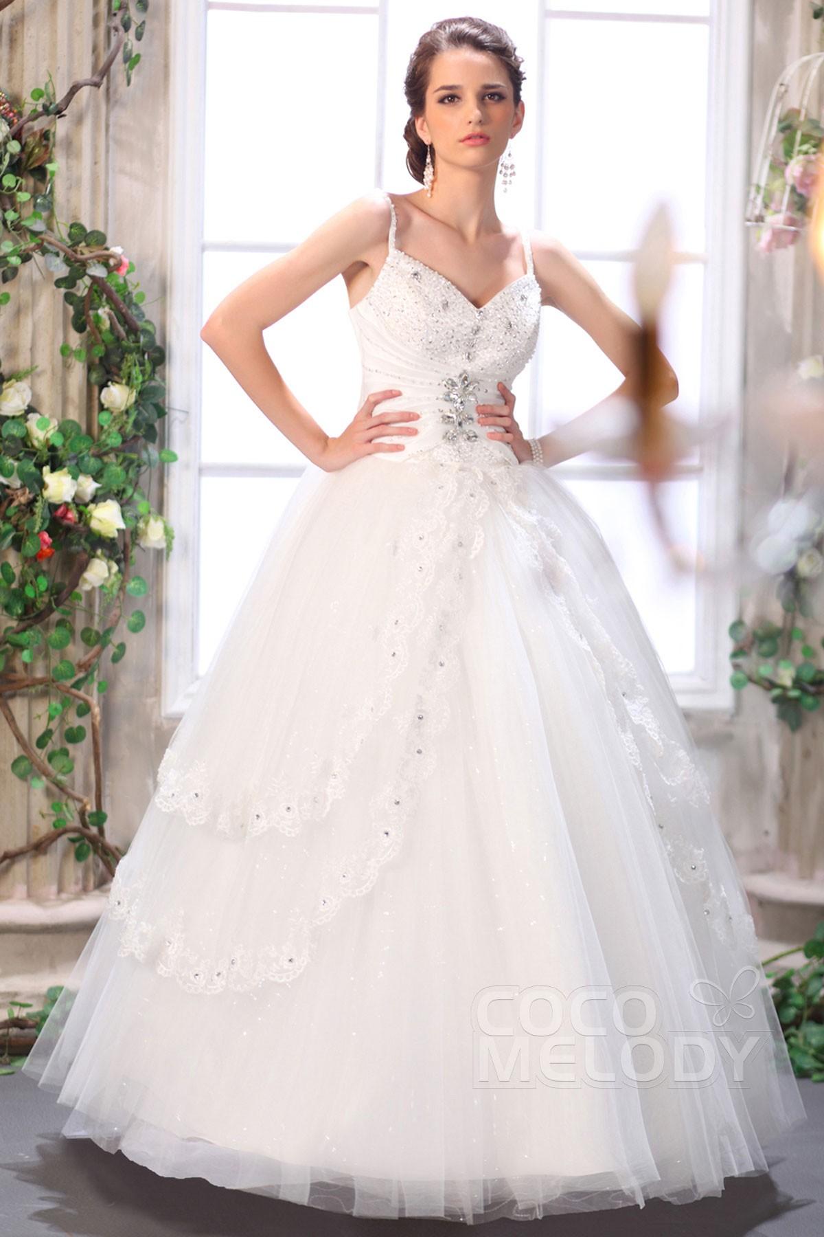 Cocomelody ball gown spaghetti strap floor length tulle for Spaghetti strap ball gown wedding dress