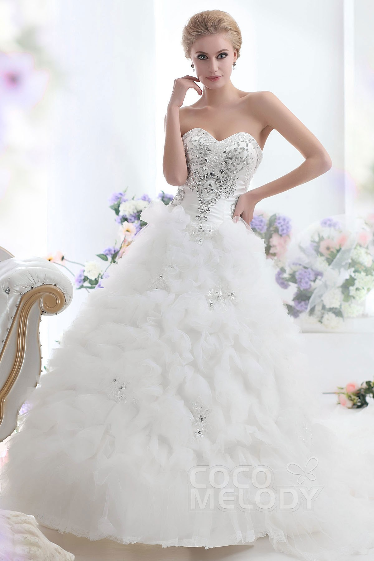 Fabulous Princess Sweetheart Basque Waist Chapel Train Ruffled Organza Wedding Dress CWLT1308D