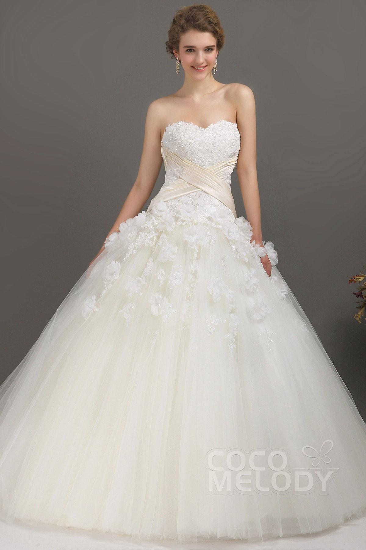 Cocomelody: Princess Sweetheart Chapel Train Tulle Wedding Dress ...