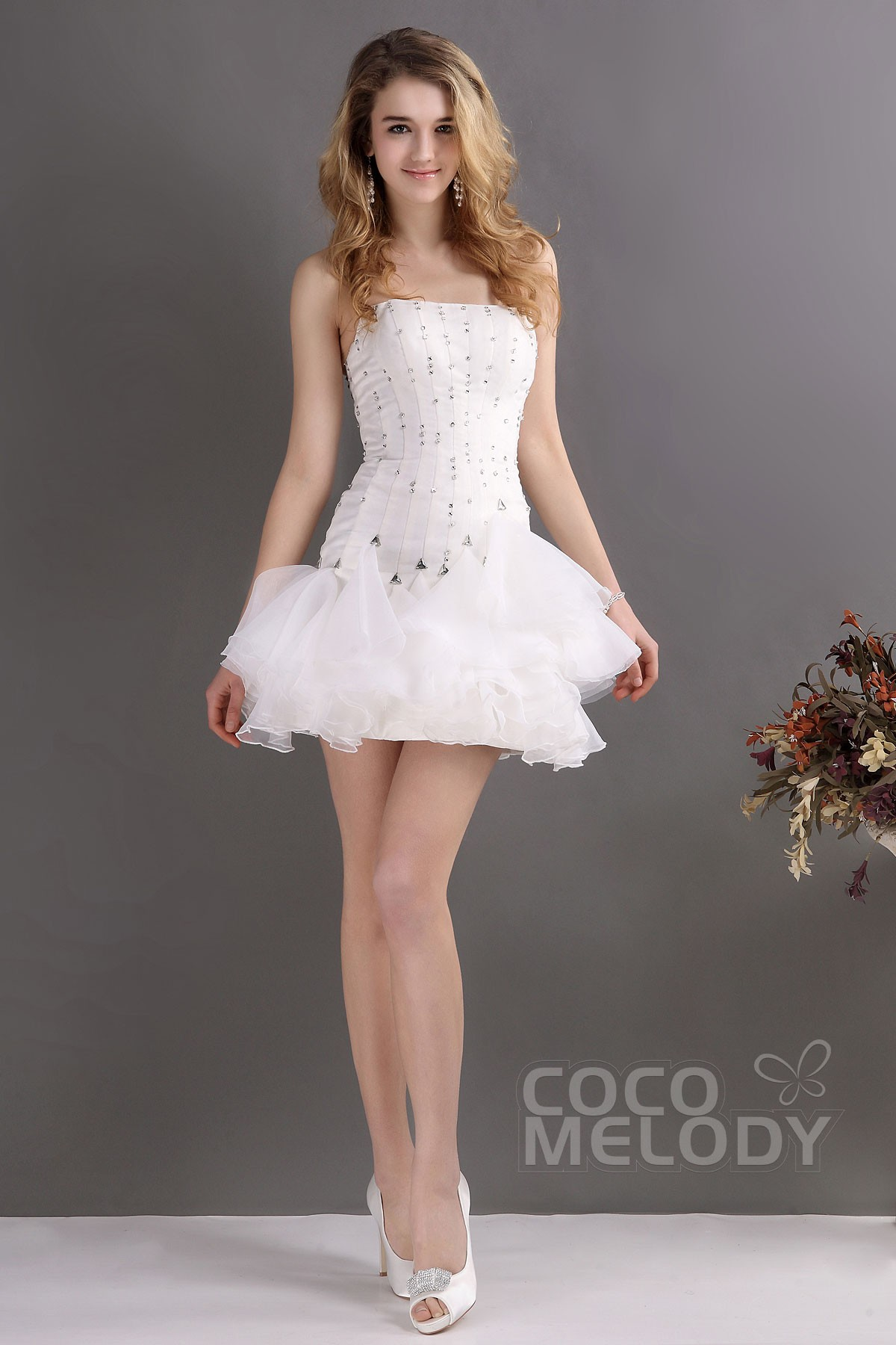 Cocomelody sheath column strapless short mini organza for Short sheath wedding dress