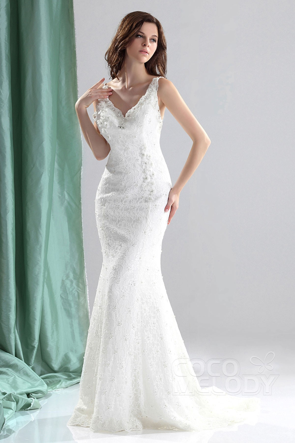 Unique Trumpet Mermaid V Neck Court Train Lace Backless Wedding Dress CWZT13011