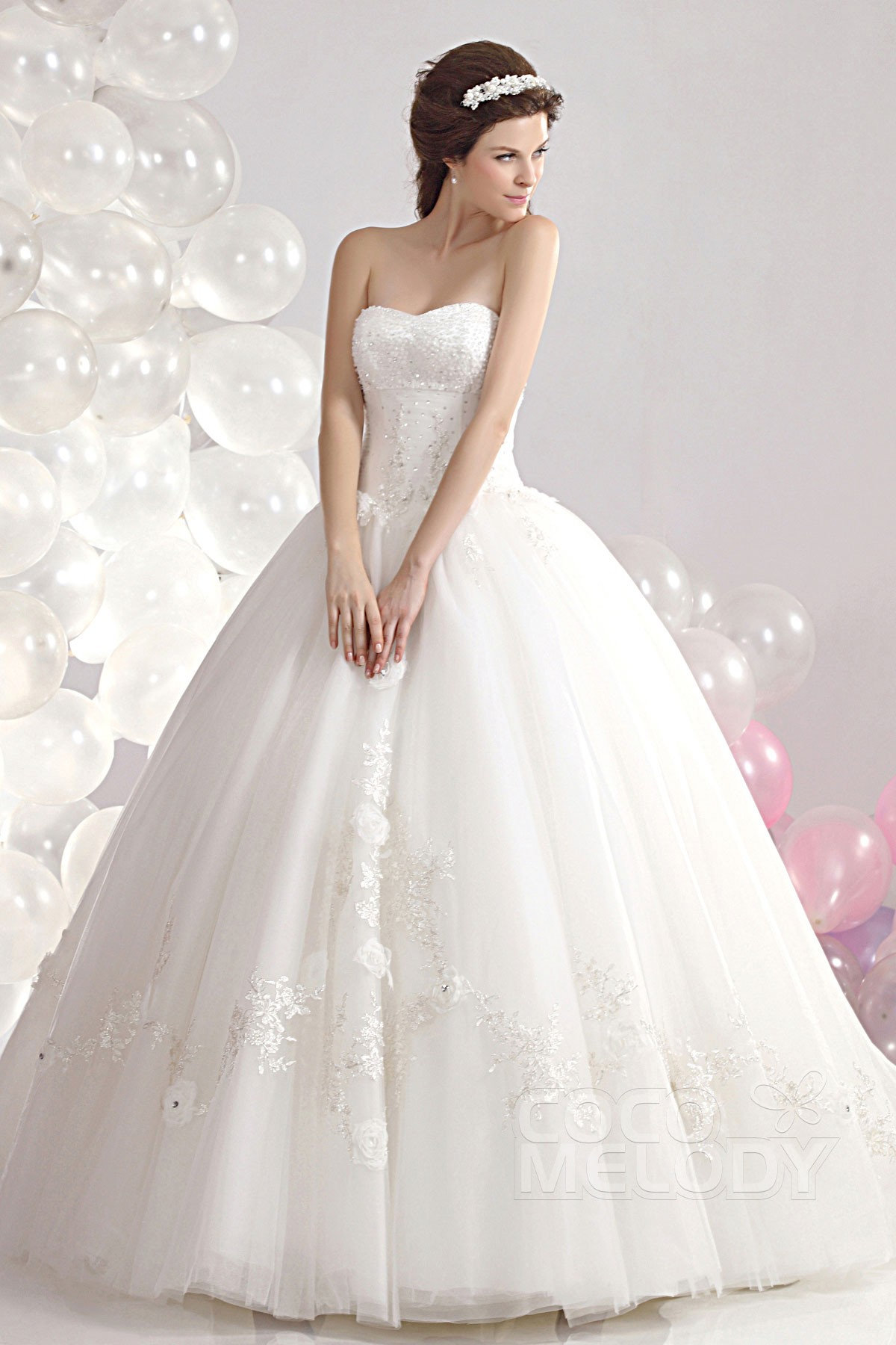 Perfect Ball Gown Sweetheart Court Train Tulle Wedding Dress CWLT1304A