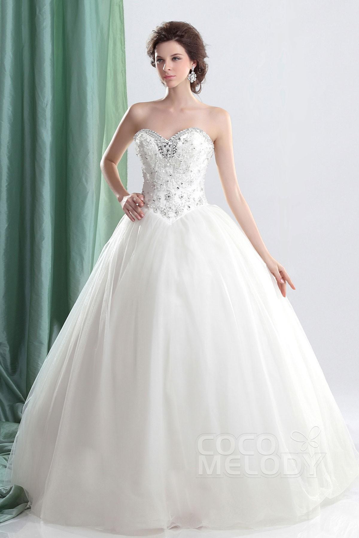 Ball Gown Sweetheart Basque Floor Length Tulle Wedding Dress CWLF13008