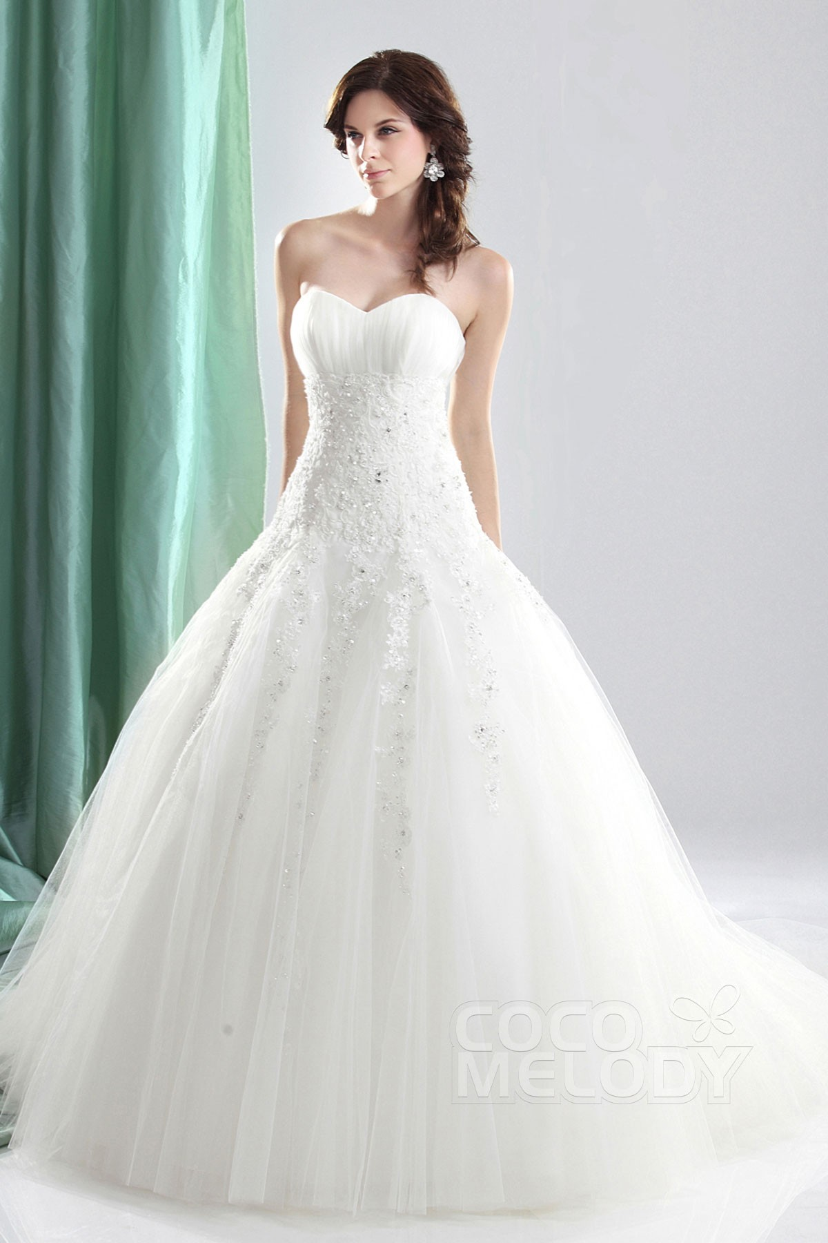 Cocomelody ball gown sweetheart court train tulle wedding for High low ball gown wedding dress