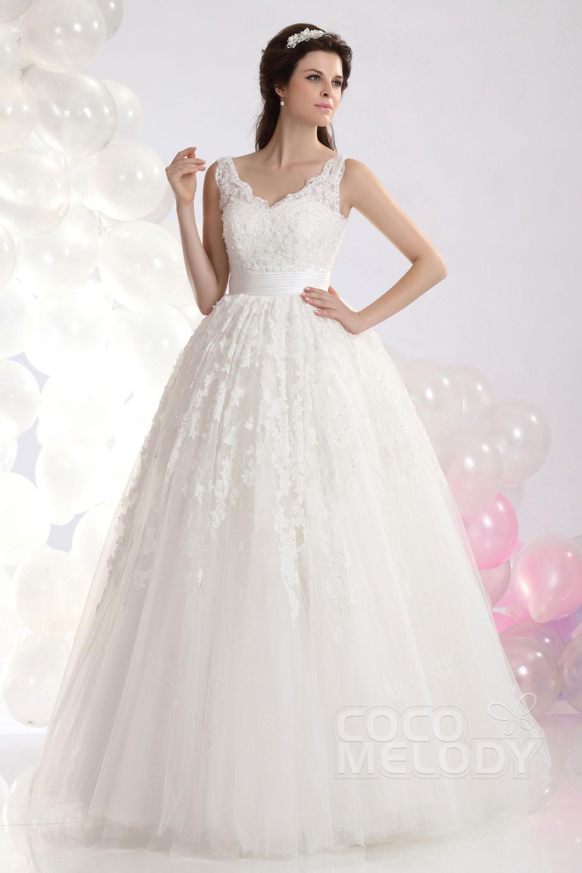Cocomelody: Princess V-Neck Natural Floor Length Tulle Wedding Dress ...