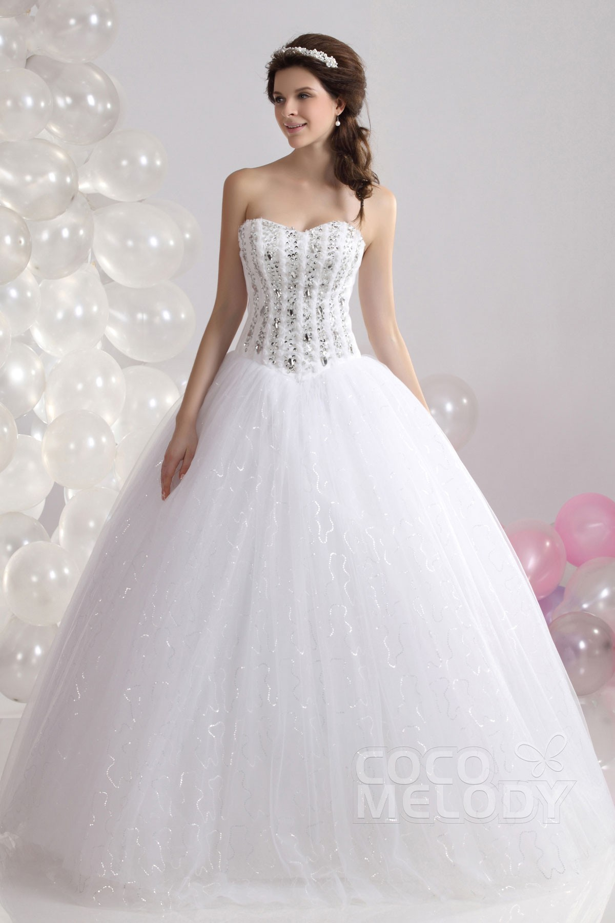 Cocomelody: Ball Gown Sweetheart Basque Floor Length Tulle Wedding ...