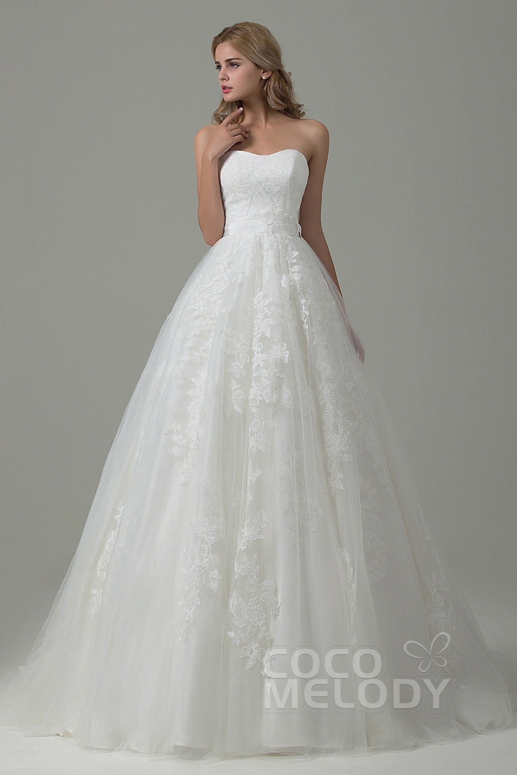 Cocomelody: A-Line Sweetheart Tulle Lace Wedding Dress B14E3A024