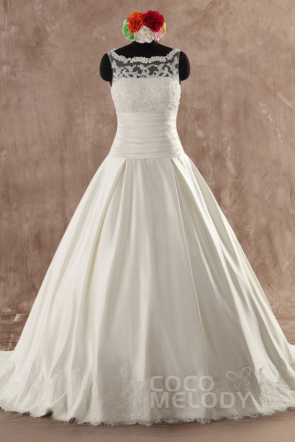 Classic a line natural train satin ivory sleeveless zipper with classic a line natural train satin ivory sleeveless zipper with buttons wedding dress with appliques ombrellifo Choice Image