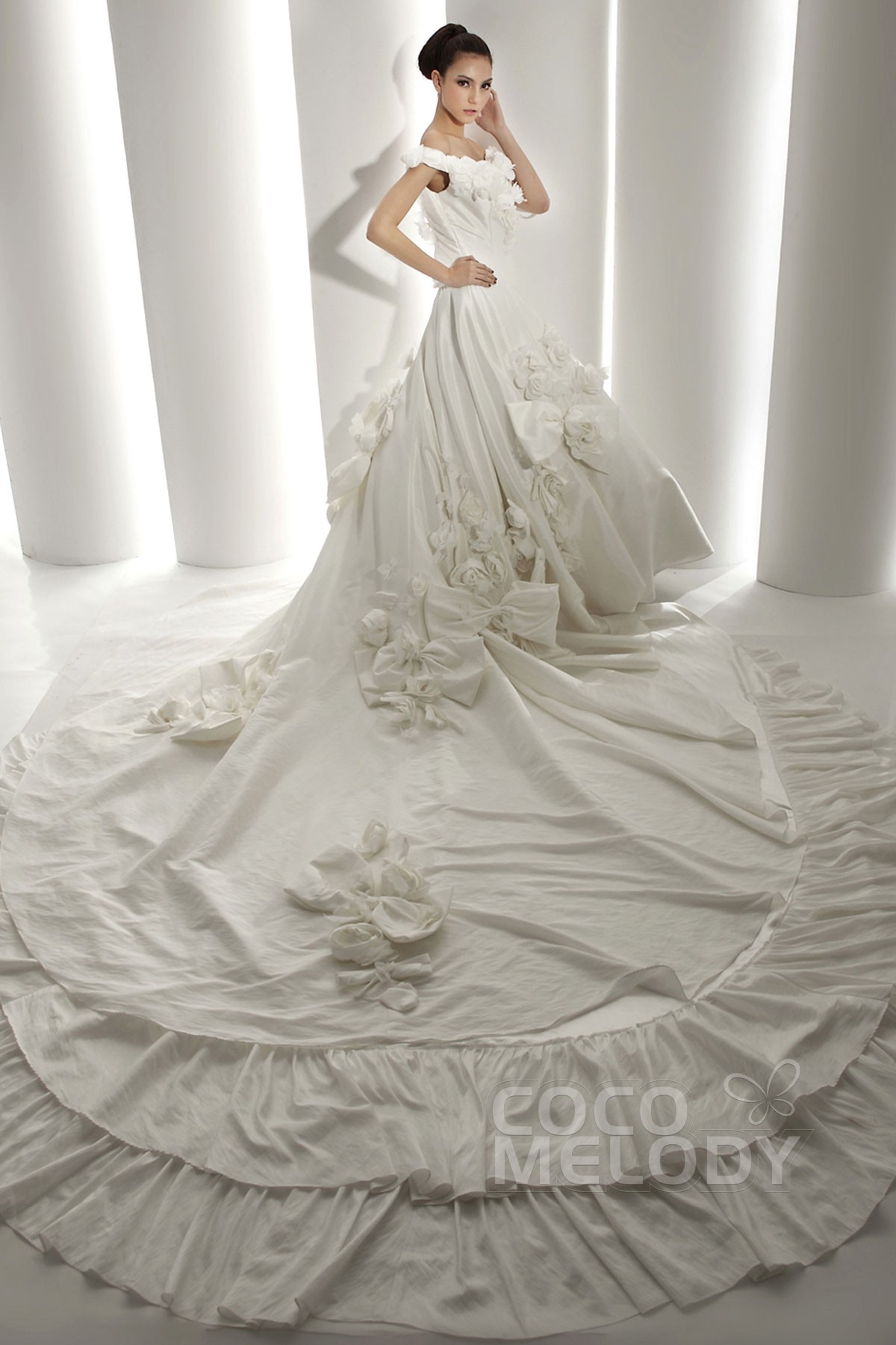 Cocomelody a line off the shoulder cathedral train for A line taffeta wedding dress