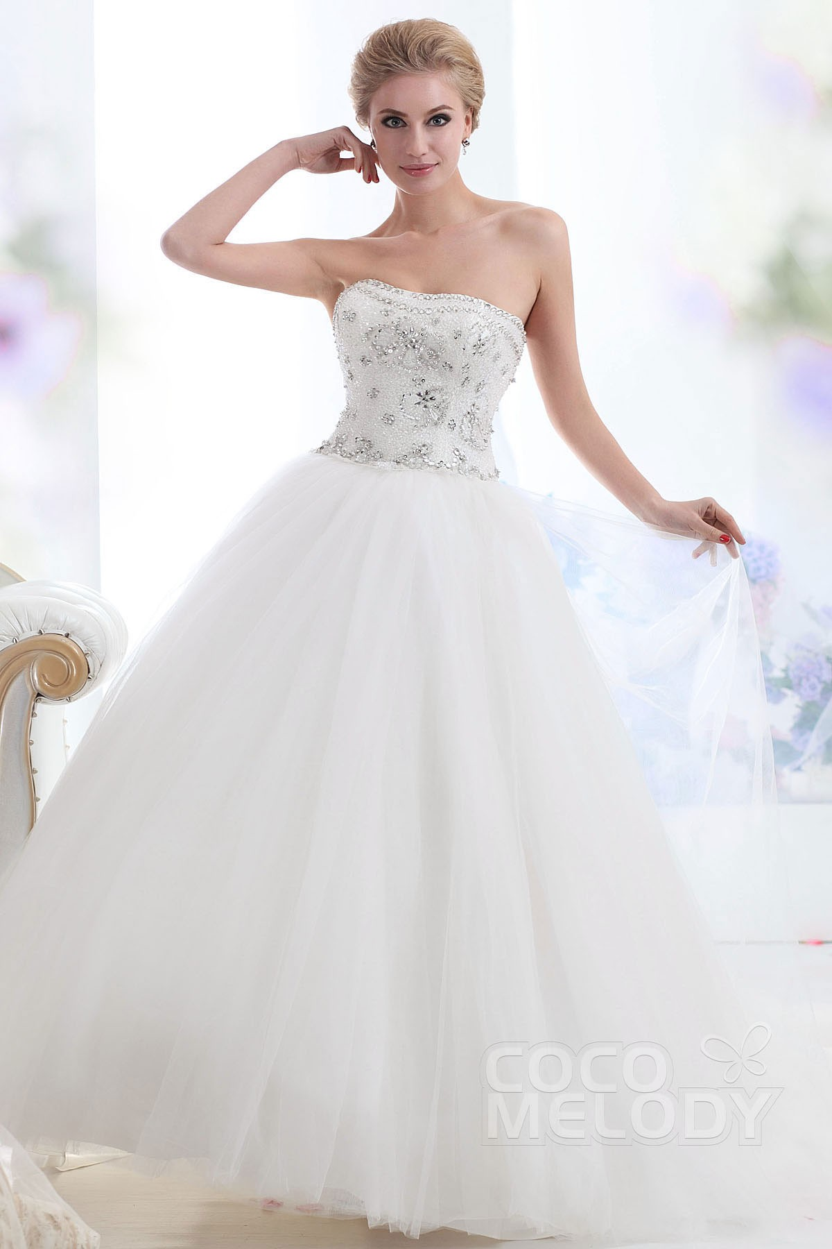 Lovely princess sweetheart chapel train tulle lace up for Corset lace up wedding dress