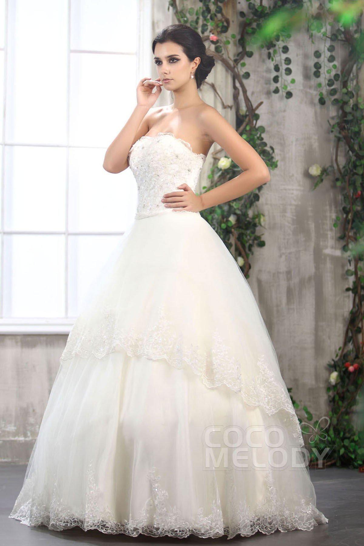 Trendy A-Line Strapless Floor Length Tulle Wedding Dress CWLF13010