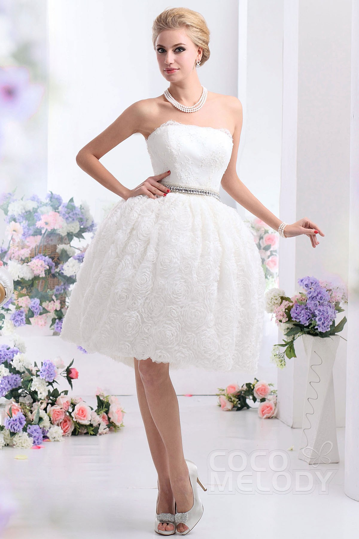 Ball Gown Strapless Knee Length Organza Wedding Dress CWZK13001 ...