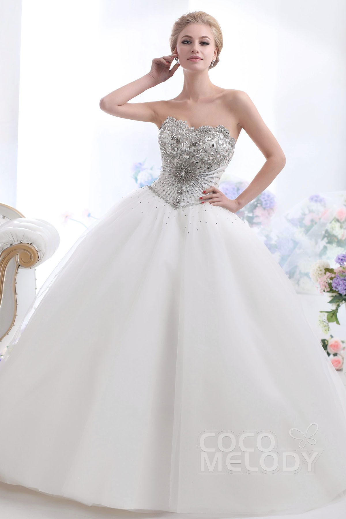 Cocomelody ball gown sweetheart chapel train tulle for Image of wedding dresses