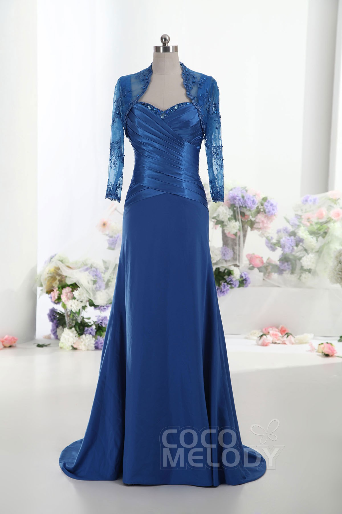 Straps Sweep-Brush Train Satin Mother of the Bride Dress with Jacket-Bolero and Crystals Beading COLT14018