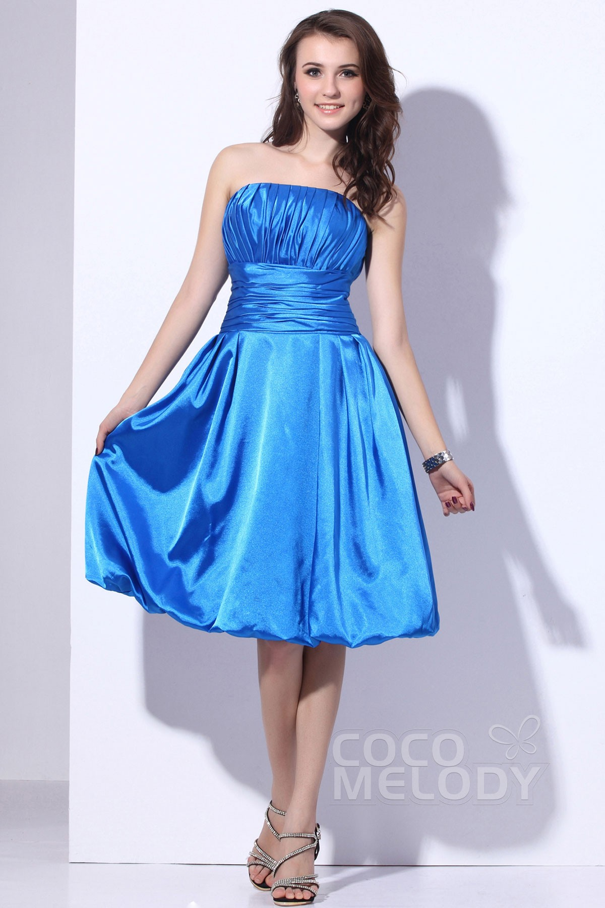A Line Strapless Knee Length Satin Blue Bridesmaid Dress C11471