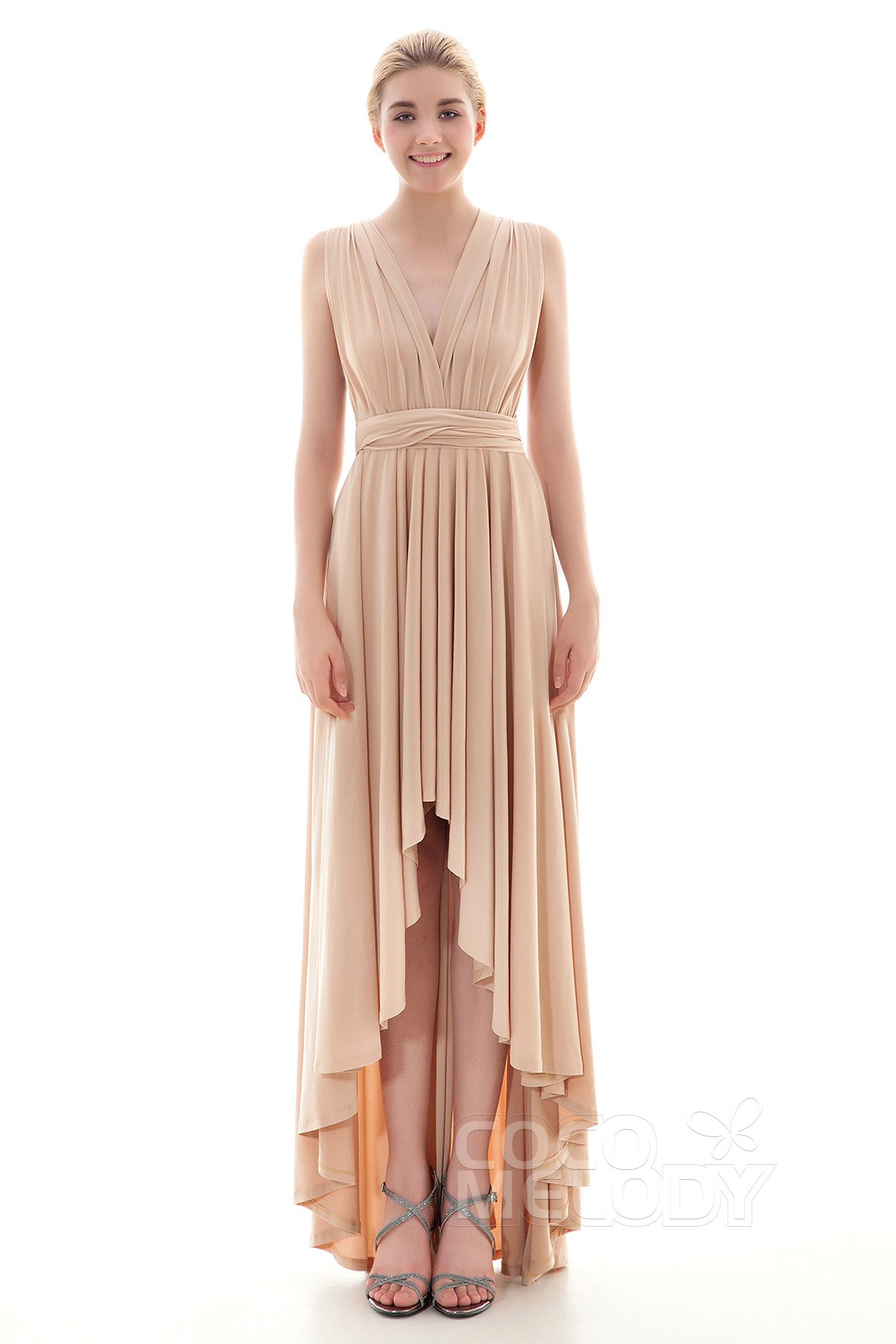 Cocomelody: Asymmetrical High-Low Knitted Fabric Bridesmaid Dress ...