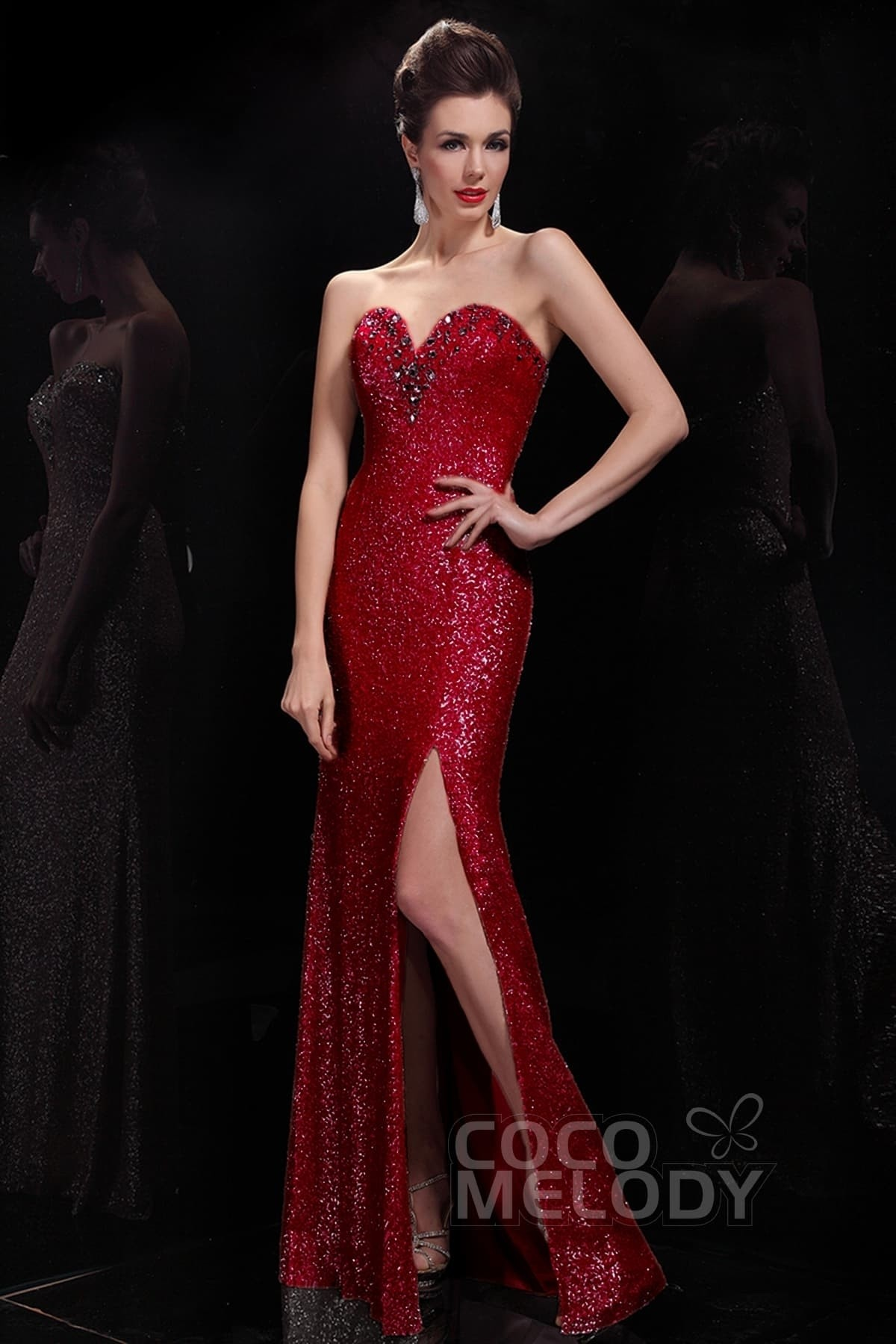 Cocomelody: Sheath-Column Sweetheart Floor Length Evening Dress ...