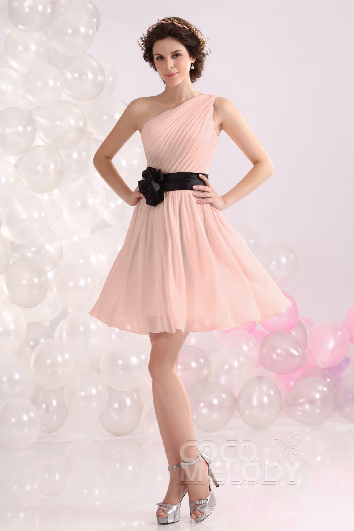 Hot A Line One Shoulder Short Mini Chiffon Bridesmaids Dress Cozb1301c