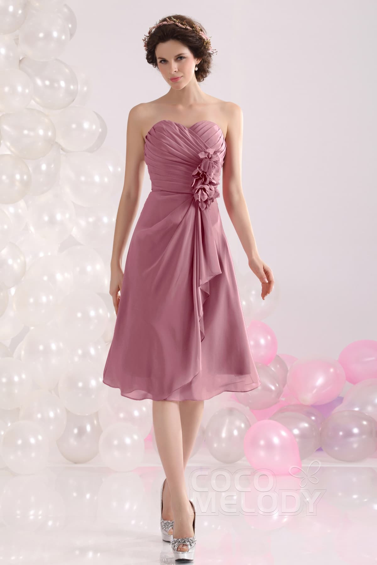 A line sweetheart knee length chiffon bridesmaid dress cozk13029 pretty a line sweetheart knee length chiffon bridesmaid dress cozk13029 ombrellifo Image collections