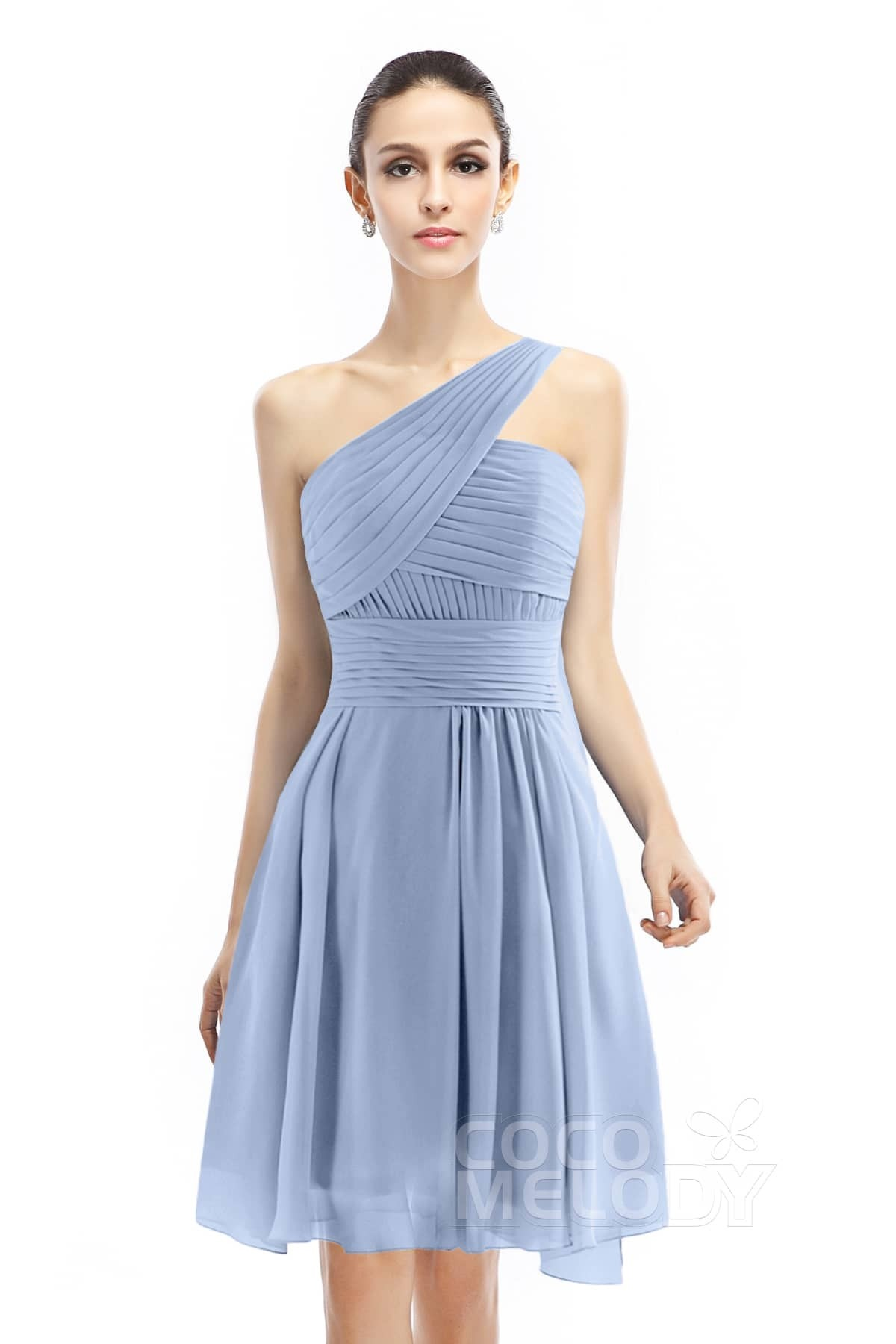 Glamour A-Line One Shoulder Natural Knee Length Chiffon Sleeveless Zipper Bridesmaid Dress with Pleating COZK1401C