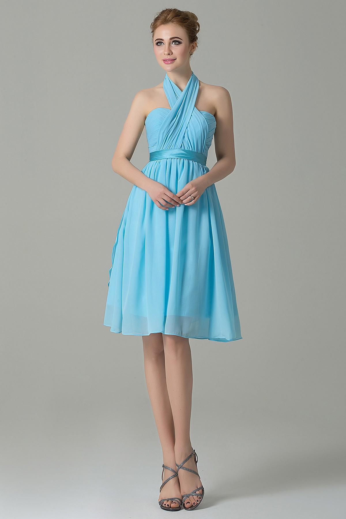 Cocomelody: A-Line Knee Length Chiffon Convertible Bridesmaid Dress ...