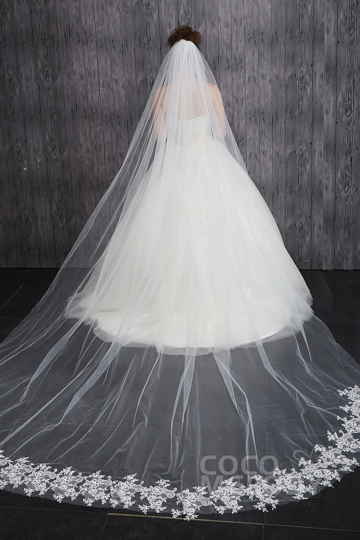 Chic One-tier Lace Edge Tulle Appliques Ivory Cathedral Veils CV001500A