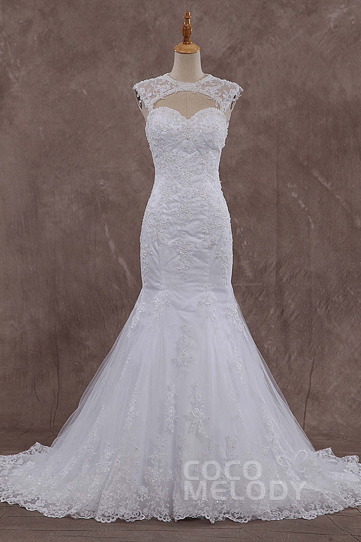 Timeless Trumpet-Mermaid Illusion Dropped Train Tulle White Sleeveless Open Back Wedding Dress with Beading and Appliques CWAT15003
