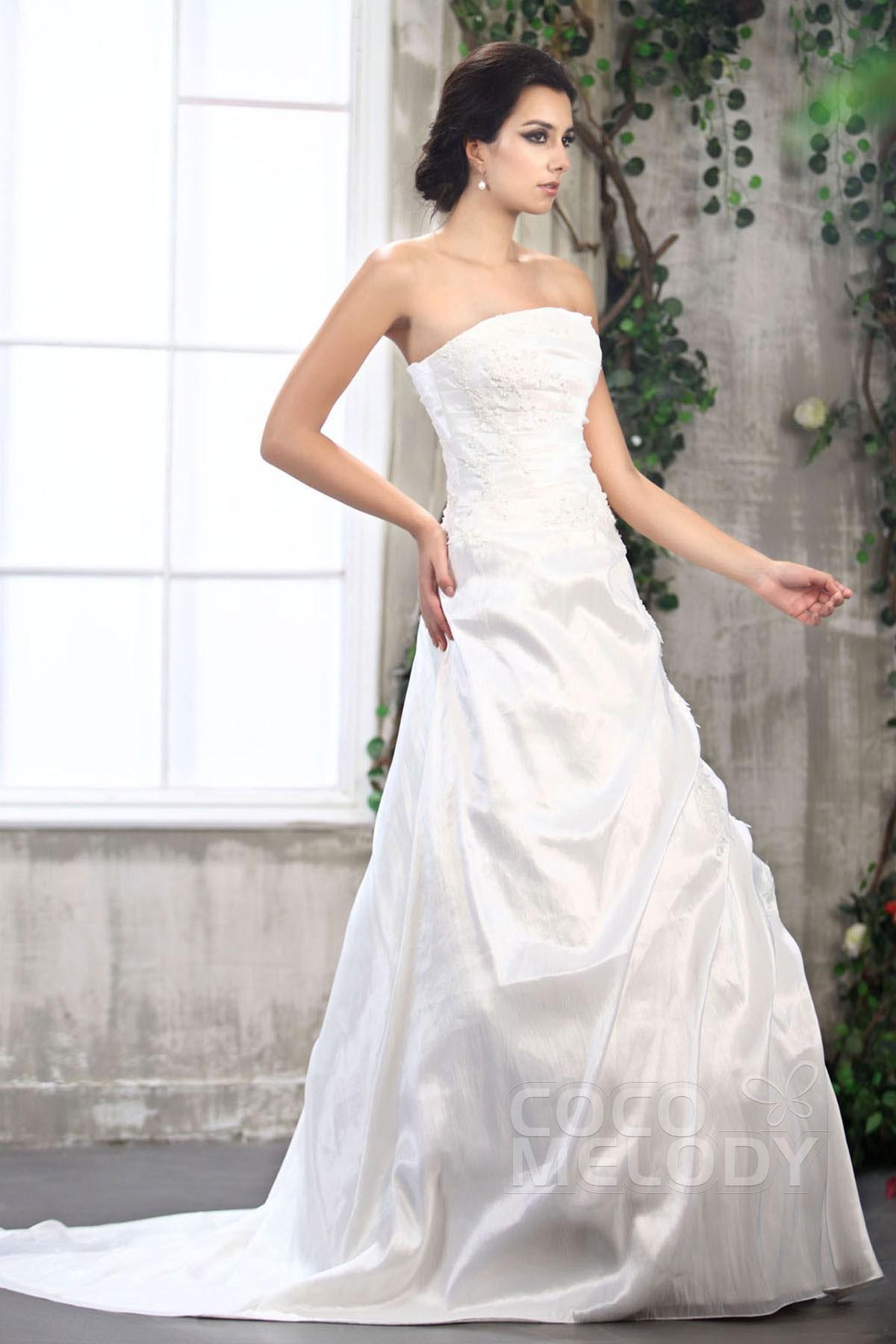 Divine A-Line Strapless Court Train Taffeta Wedding Dress CWZT13003